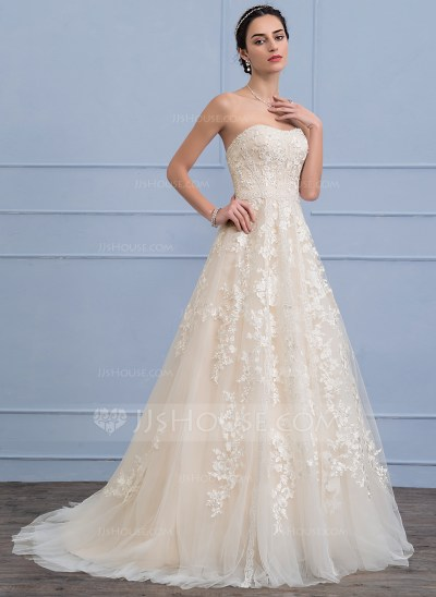 A-Line/Princess Sweetheart Sweep Train Tulle Lace Wedding ...