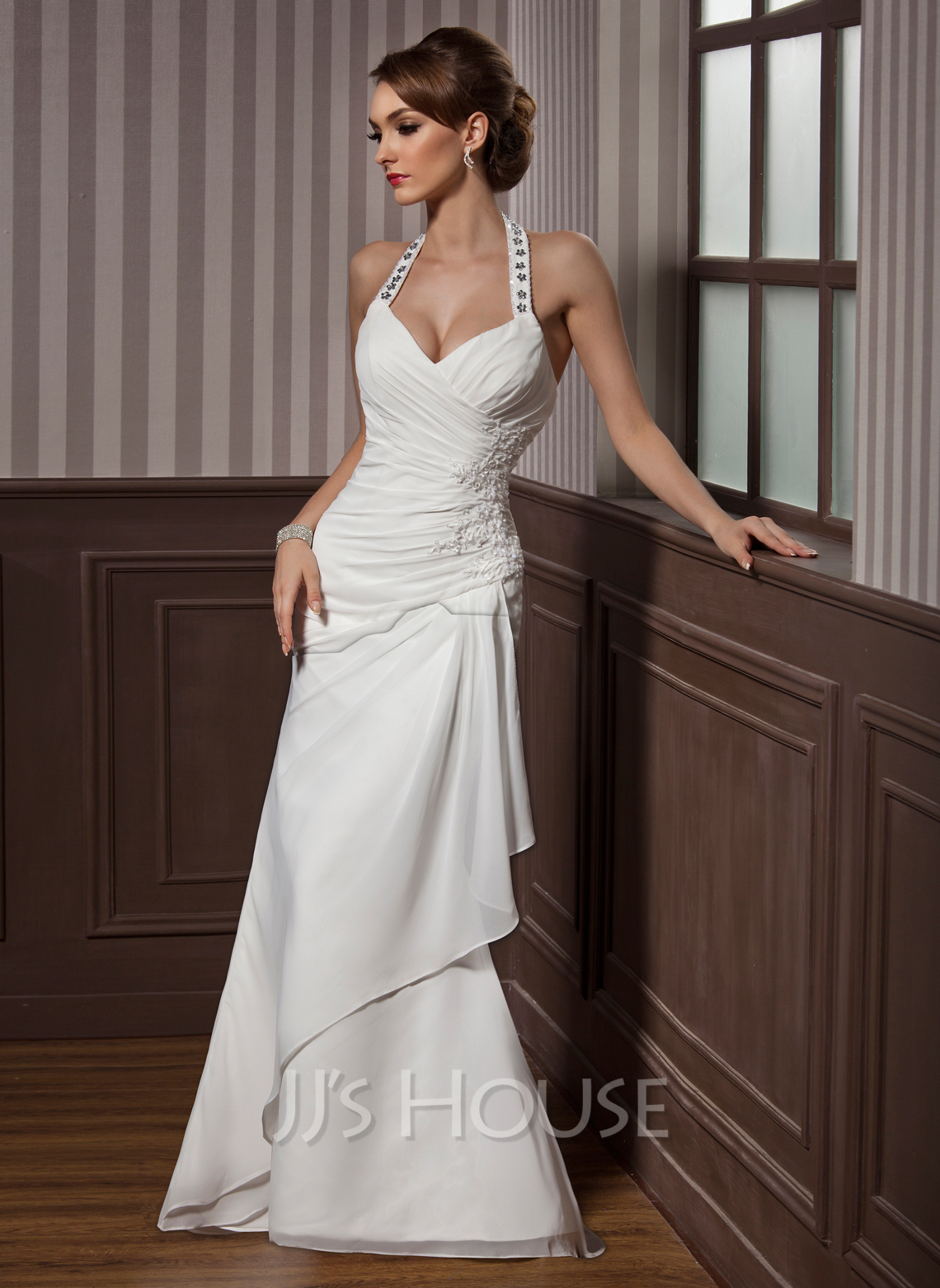 Sheath Column Halter Floor Length Chiffon Satin Wedding Dress With Beading Appliques Lace Sequins Cascading Ruffles g jjs house wedding dresses Home Wedding Dresses Loading zoom