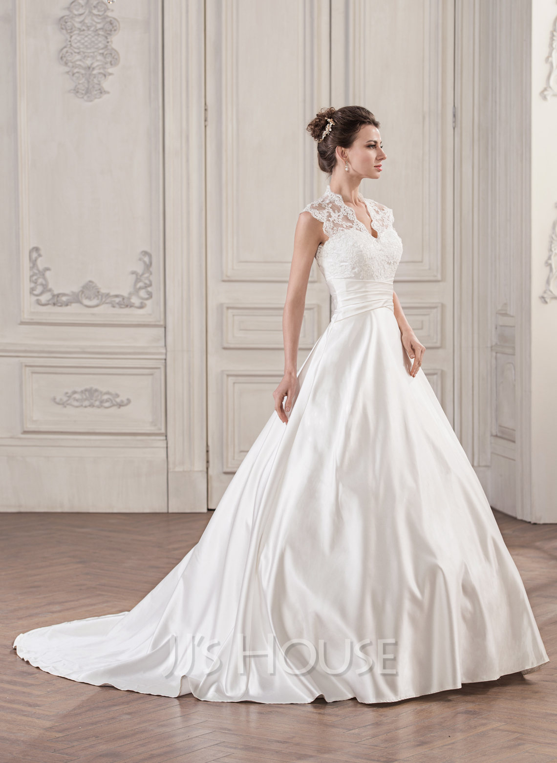 Ball Gown V Neck Court Train Satin Lace Wedding Dress With Ruffle g jjs house wedding dresses Home Wedding Dresses Loading zoom