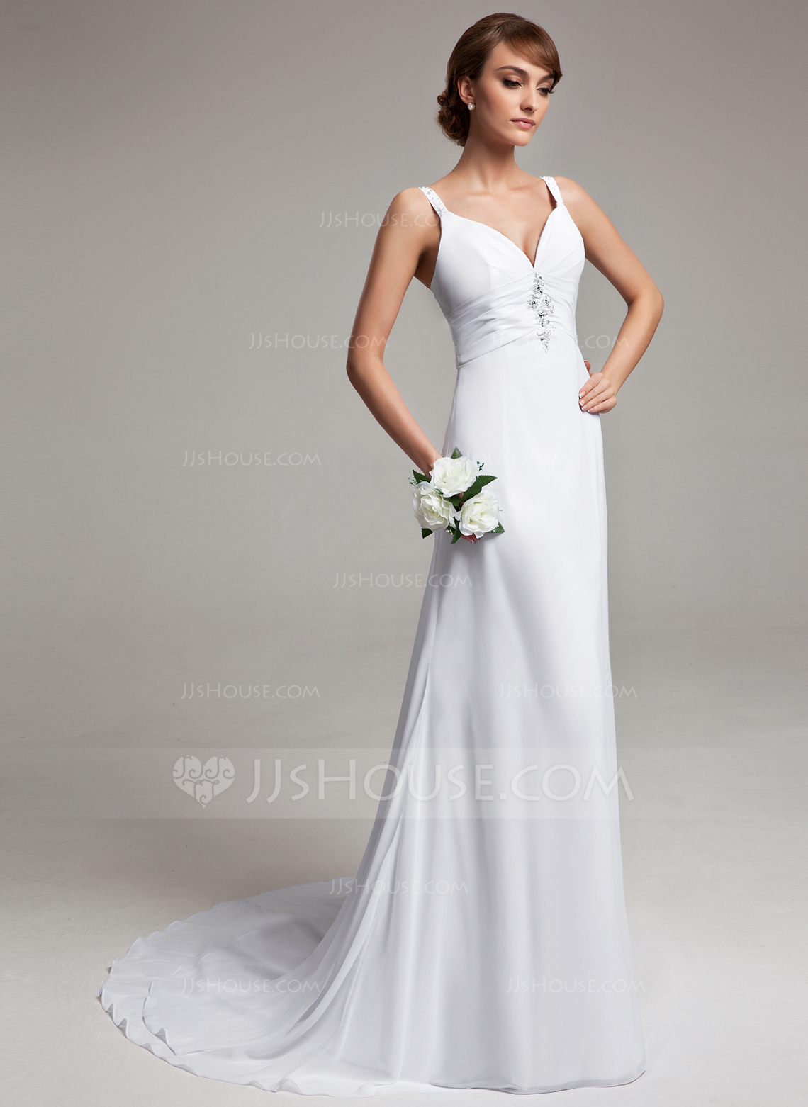 A Line Princess V Neck Court Train Chiffon Wedding Dress With Ruffle Beading g jjs house wedding dresses Home Wedding Dresses Loading zoom