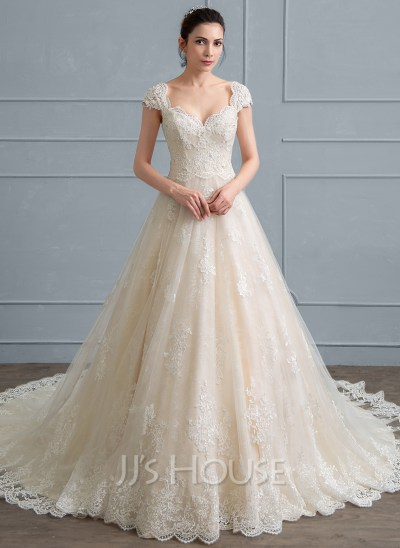 Ball-Gown Sweetheart Cathedral Train Tulle Lace Wedding ...