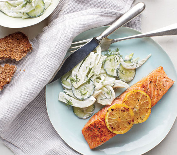 Salmon With Creamy Cucumber-Fennel Salad | 20 Fast Dinner Recipes - Real Simple