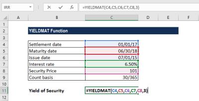 YIELDMAT Function - Formula, Examples, How to Use YIELDMAT