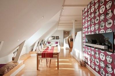 Attic Apartment Decoration 7 - red white wallpaper behind TV unit - Decoist