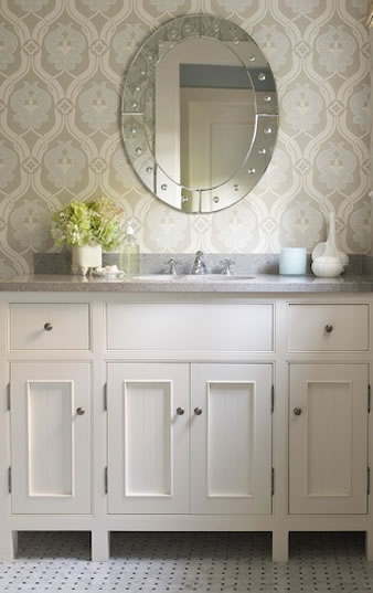 Blue and Gray Wallpaper - Traditional - bathroom - James Michael Howard