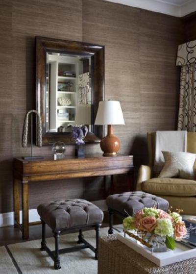 Brown Grasscloth Wallpaper - Transitional - living room - Philip Gorrivan Design