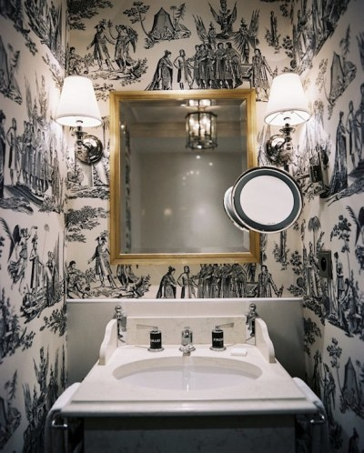 Black and White Toile Wallpaper - Transitional - bathroom - Lonny Magazine