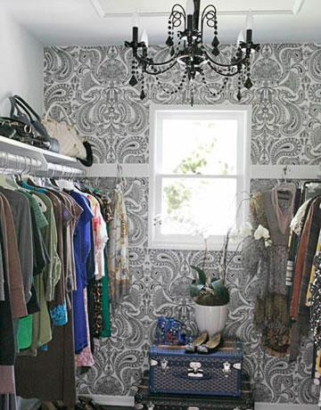 Black and White Damask Wallpaper - Contemporary - closet - Erinn V Design Group