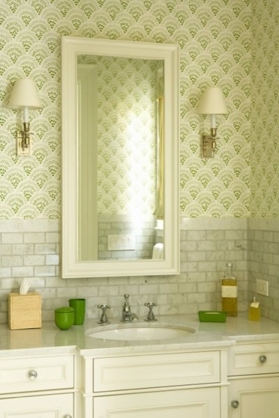 White Carrera Marble Countertop - Transitional - bathroom - Katie Rosenfeld Design