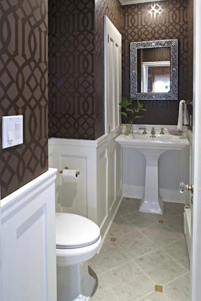 Wainscoting With Wallpaper Design Ideas