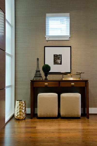 Metallic Grasscloth Wallpaper - Contemporary - entrance/foyer - Twenty One Two