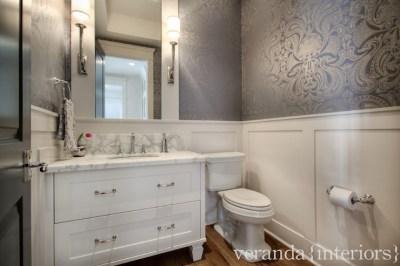 Metallic Damask Wallpaper - Traditional - bathroom - Veranda Interiors