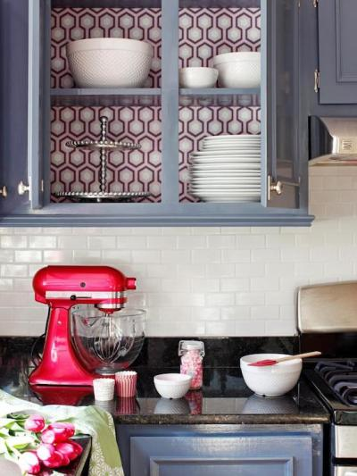 Wallpaper on back of Cabinets - Eclectic - kitchen - DIY Network