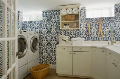 Wallpaper for Laundry Rooms - Contemporary - laundry room - Liz Caan Interiors