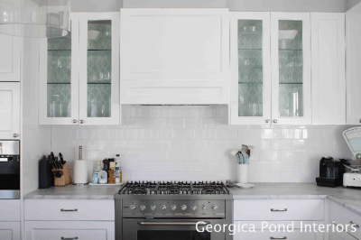 Wallpaper Cabinets - kitchen - Georgica Pond Interiors