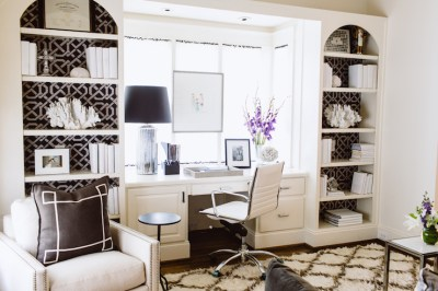 Wallpaper on Back of Bookcase - Transitional - Den/library/office - Dana Wolter Interiors