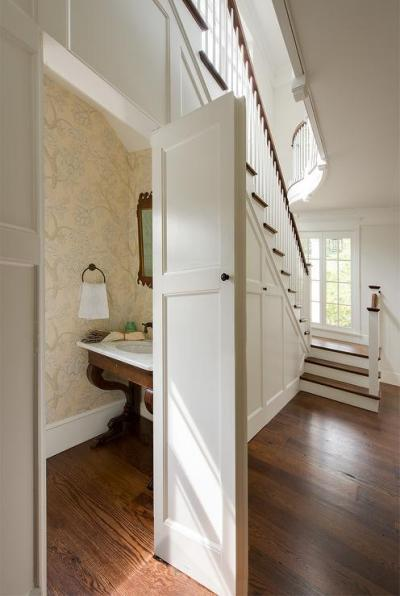 Concealed Powder Room Under The Stairs - Transitional - Bathroom