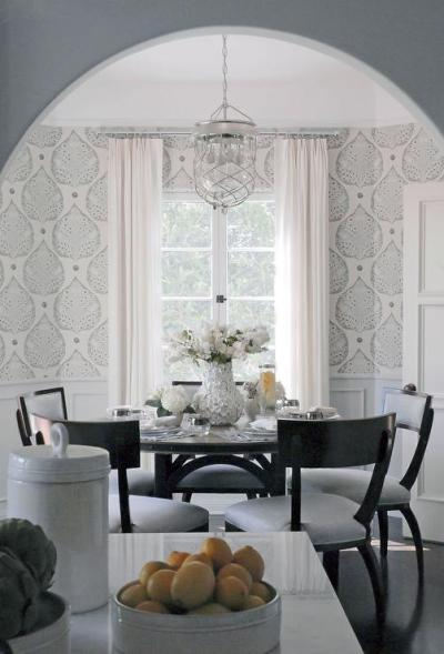 Gray Dining Room White Wainscoting Design Ideas