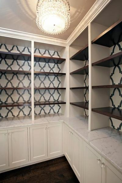 Black and White Wallpaper on Back of Built In Bookcase - Transitional - Den/library/office