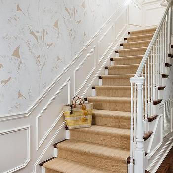 Staircase with Wainscoting and Gray Ikat Wallpaper - Transitional - Entrance/foyer