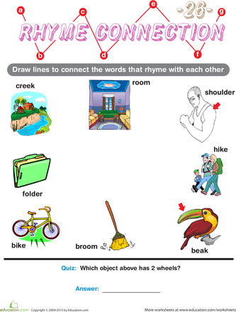Learning to Read with Rhymes - Preschool Worksheets | Education.com