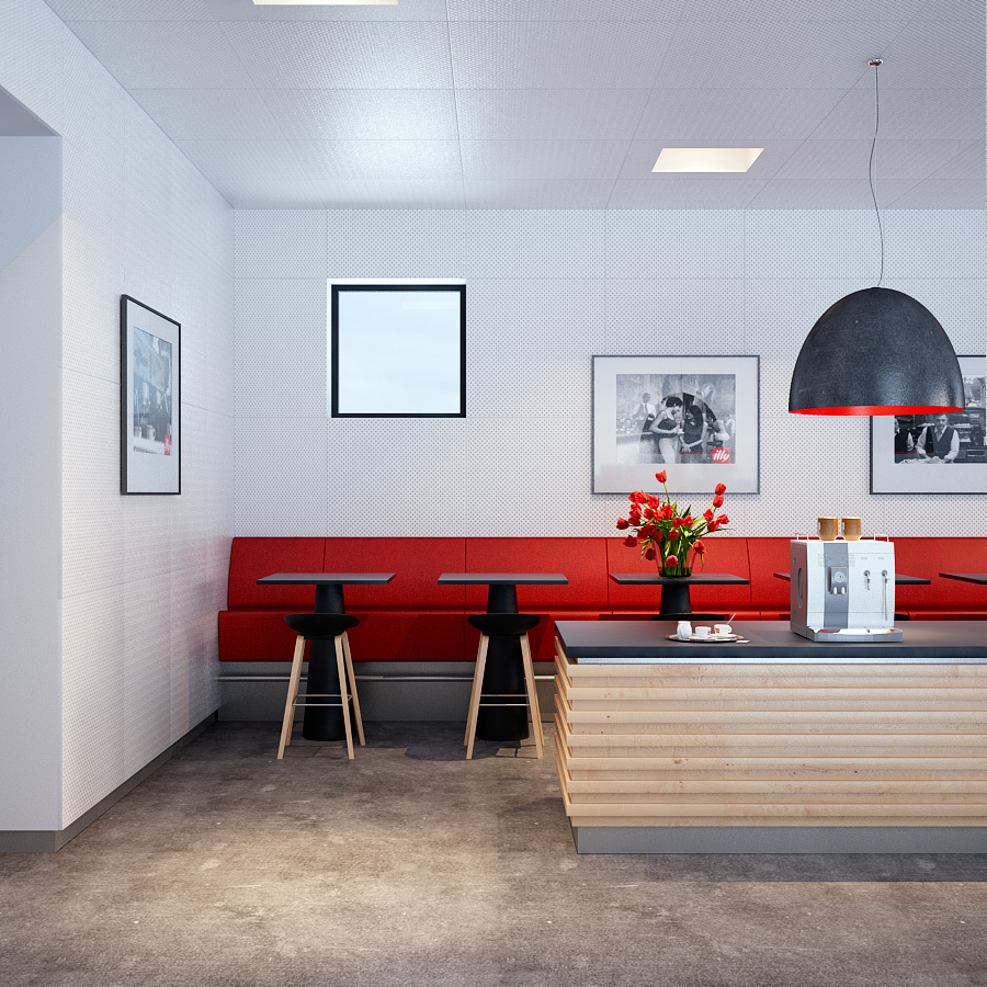 Bold Red accented kitchen dining with industrial pendant lighting and polished concrete floors
