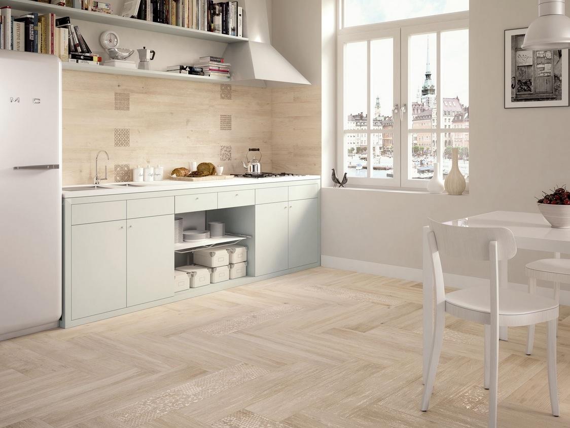 light wooden tiled kitchen splashback and floor wood floor tiles white