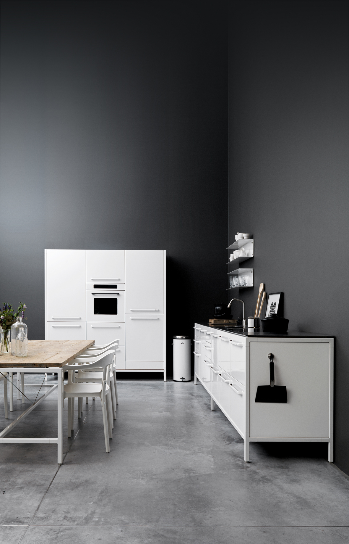 guide to polished concrete floors concrete kitchen floor Contrast light and dark on walls and polished concrete