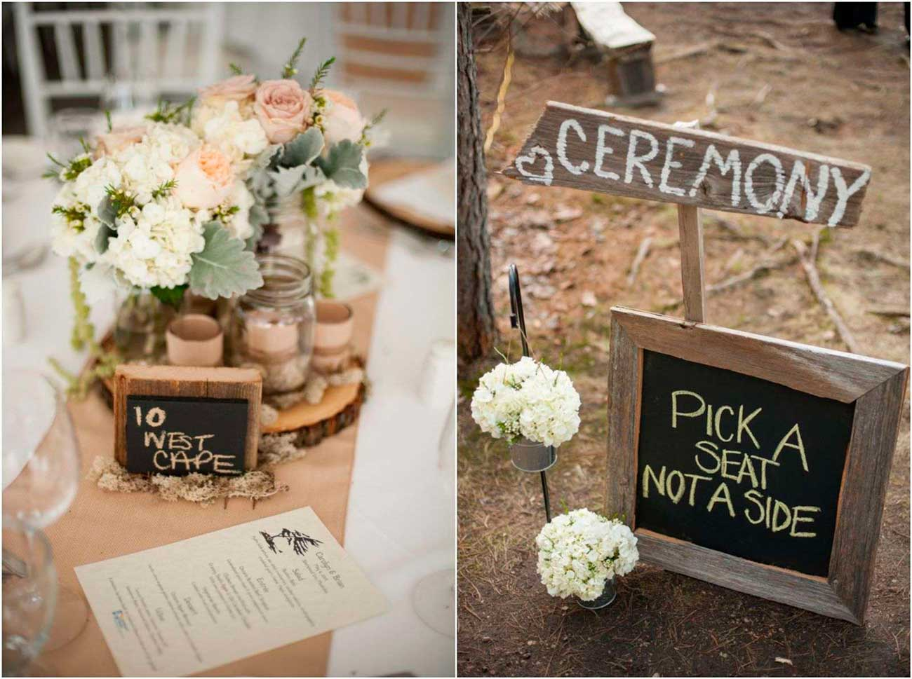 rustic wedding decorations rustic wedding centerpieces Simple country wedding decorations chalkboard