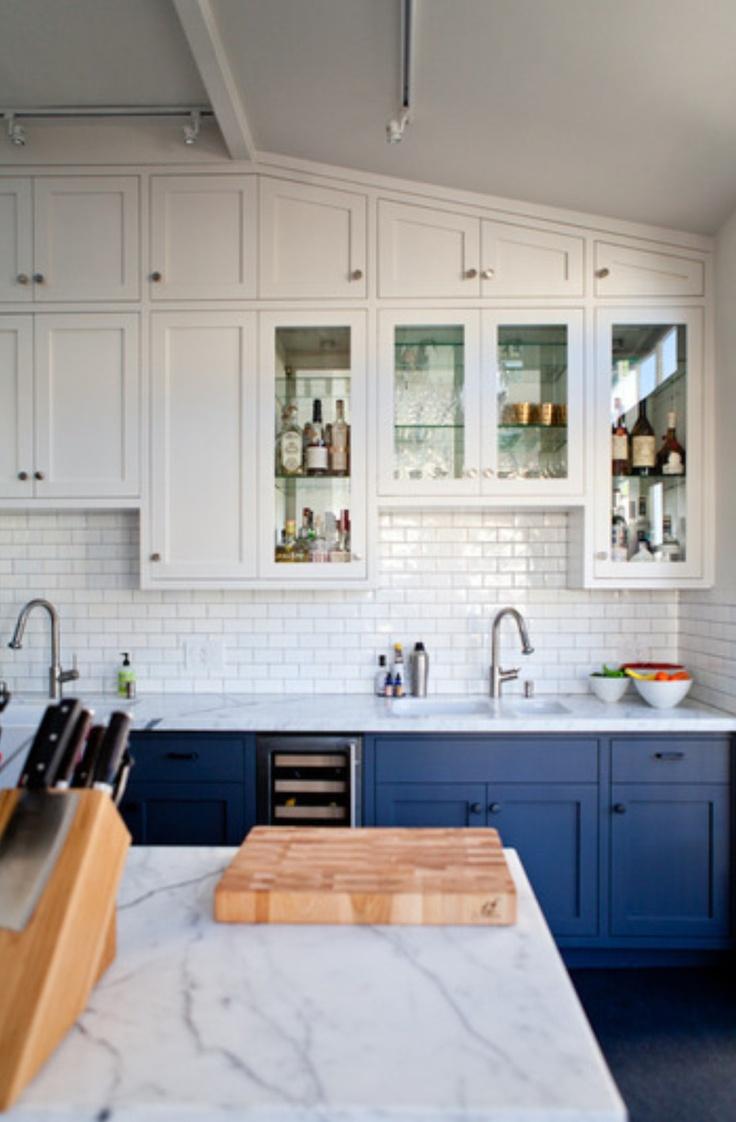 bi colored kitchen cabinets blue cabinets kitchen bright blue cabinets
