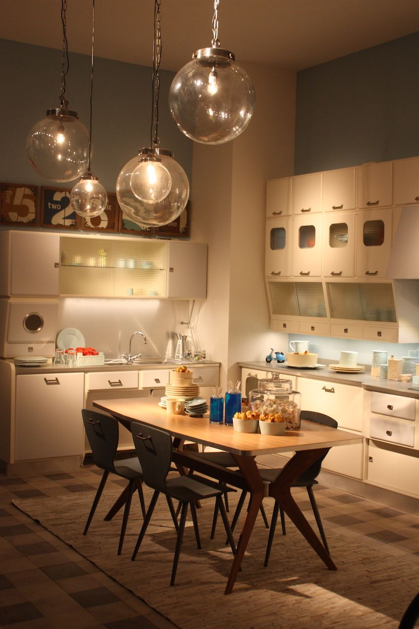 kitchen lighting kitchen lights over table A retro style kitchen like this one by Marchi is the perfect place for clear glass