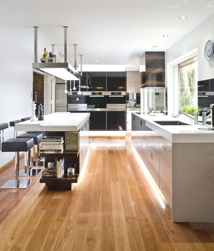 wood laminate flooring for your kitchen gray kitchen floor Soft Hidden Light Laminate Flooring Contemporary Kitchen Design