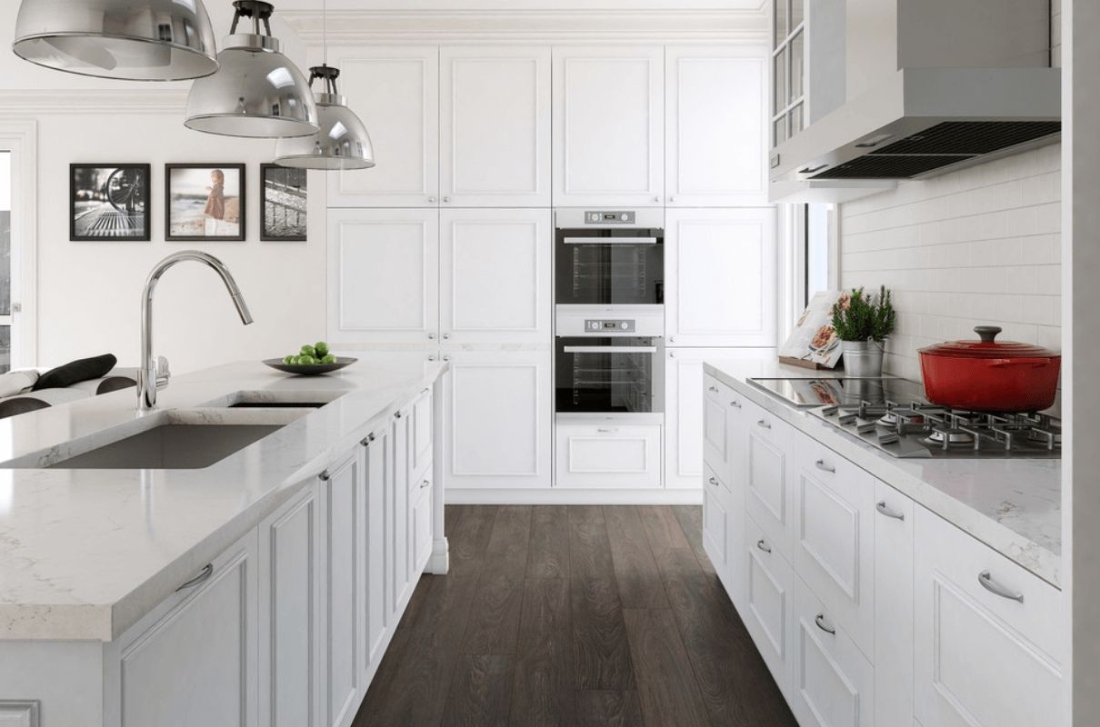 wood laminate flooring for your kitchen laminate kitchen flooring White Timeless kitchen