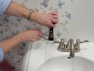 Wallpaper Installation - Cutting Around Objects - Pedestal Sink » American Blinds Video Site