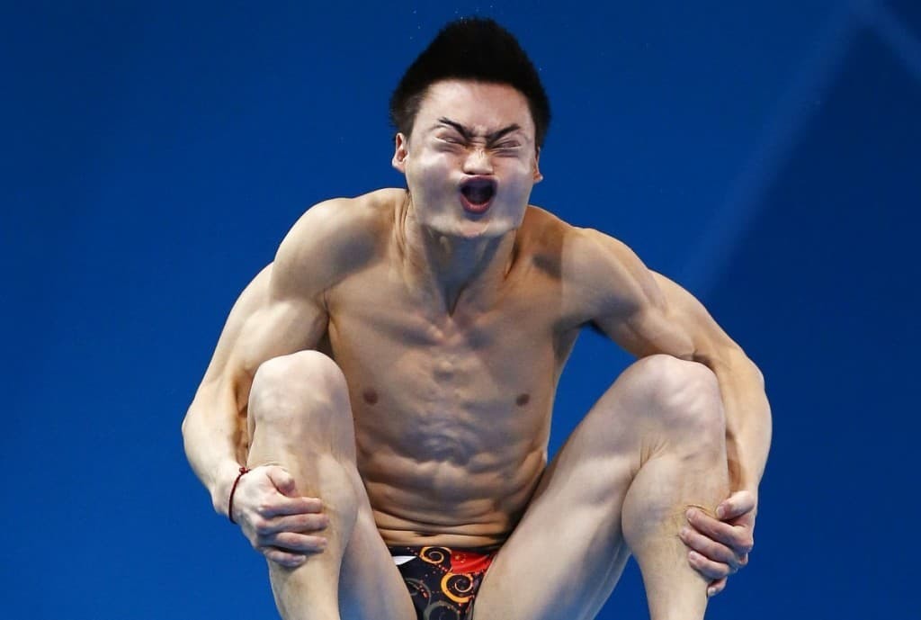10 Funniest Faces While Doing Sports Funny Diver  This is Qin Kai  a professional diver  It looks like it takes  a lot of concentration  weird poses and faces to complete the perfect dive