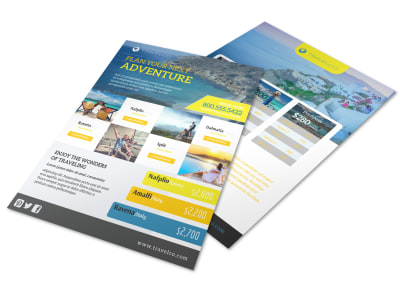 Design Custom Travel Flyers Online   MyCreativeShop Plan Your Next Adventure Travel Agency Flyer Template