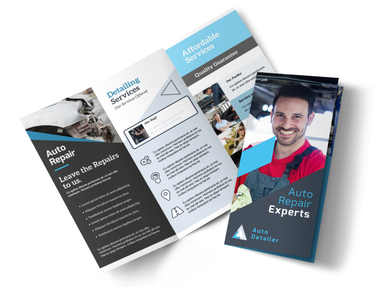 Auto Repair Experts Tri Fold Brochure Template   MyCreativeShop Auto Repair Experts Tri Fold Brochure Template