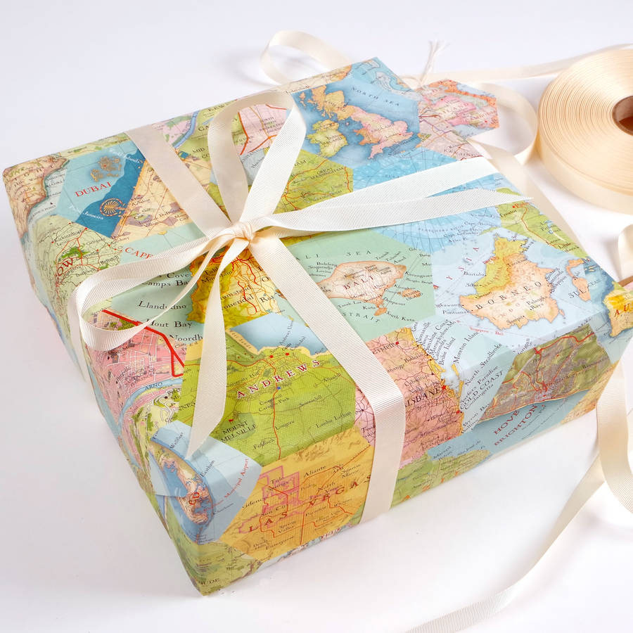 patchwork map location luxury gift wrapping paper by bombus     Patchwork Map Location Luxury Gift Wrapping Paper