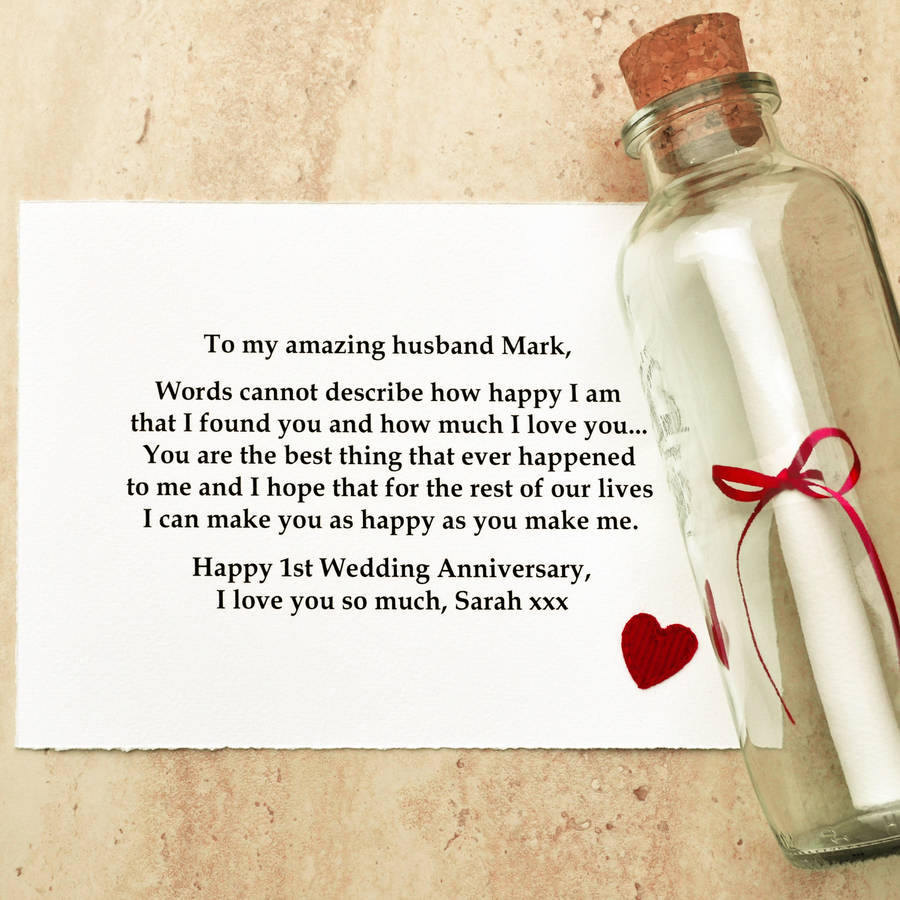 anniversary gift message in a bottle first wedding anniversary gift Personalised First Wedding Anniversary Gift