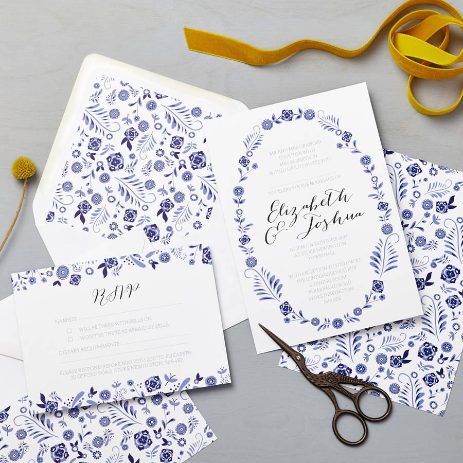 danish design wedding invitation set wedding invitation set Danish Porcelain Wedding Invitation Set