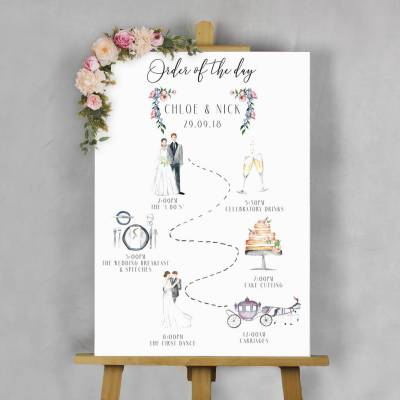 illustrated wedding 'order of the day' sign by beija flor ...
