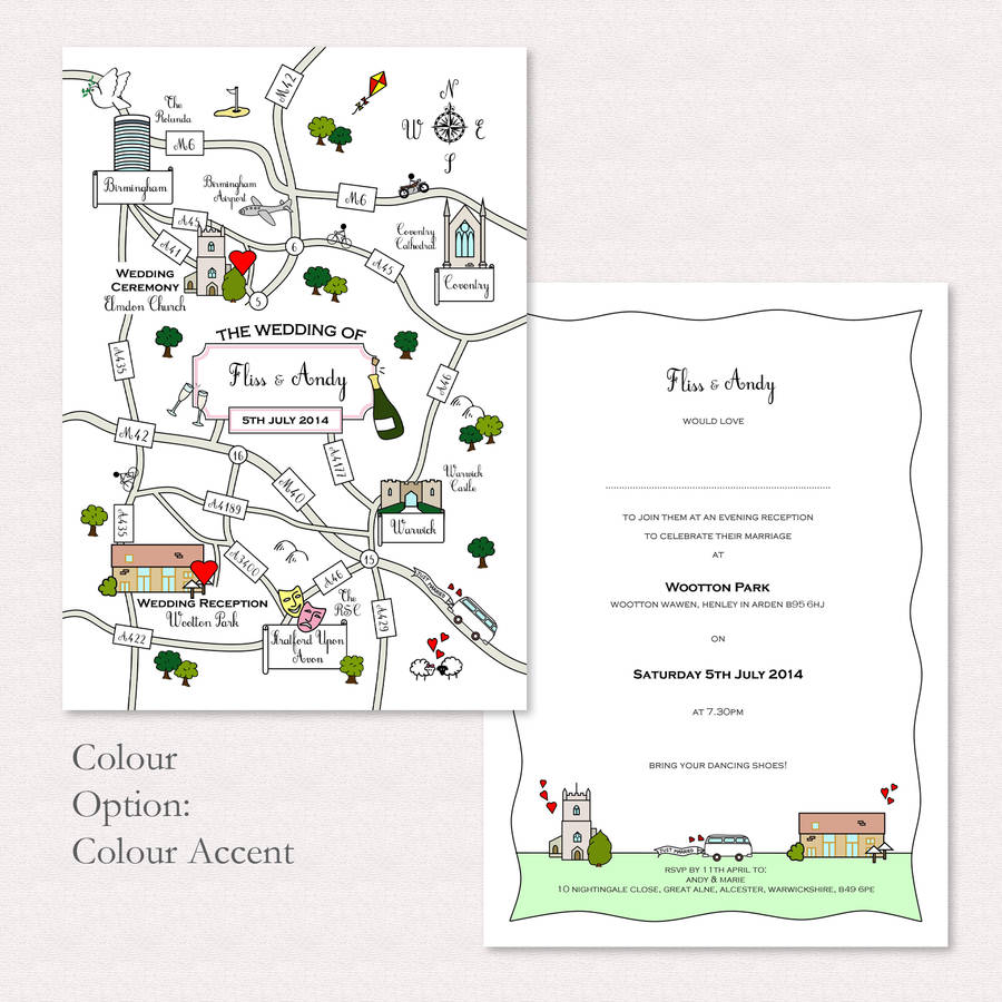 cute wedding or party map postcard map wedding invitations Wedding Or Party Illustrated Map Invitation