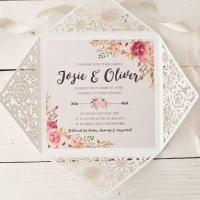 peony floral design laser cut wedding invitation by peach ...