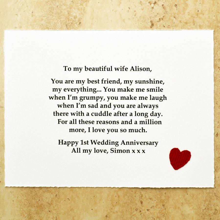 best friend 1st wedding anniversary gift first wedding anniversary gift Example of paper scroll for 1st anniversary message in a bottle