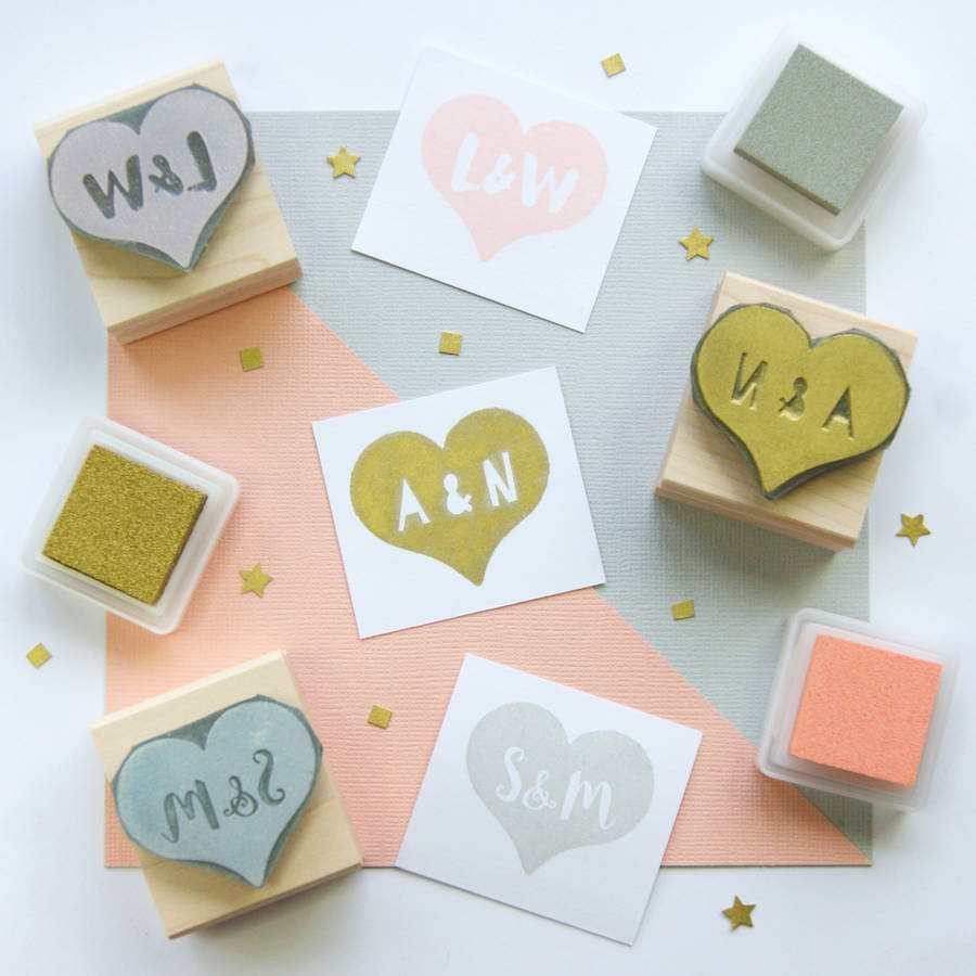 wedding rubber stamps wedding invitation stamps Personalised Heart Wedding Rubber Stamp Gift
