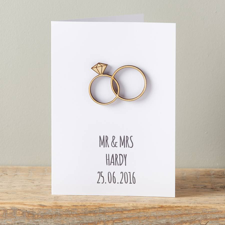 personalised intertwined wedding ring card owl wedding ring Personalised Intertwined Wedding Ring Card
