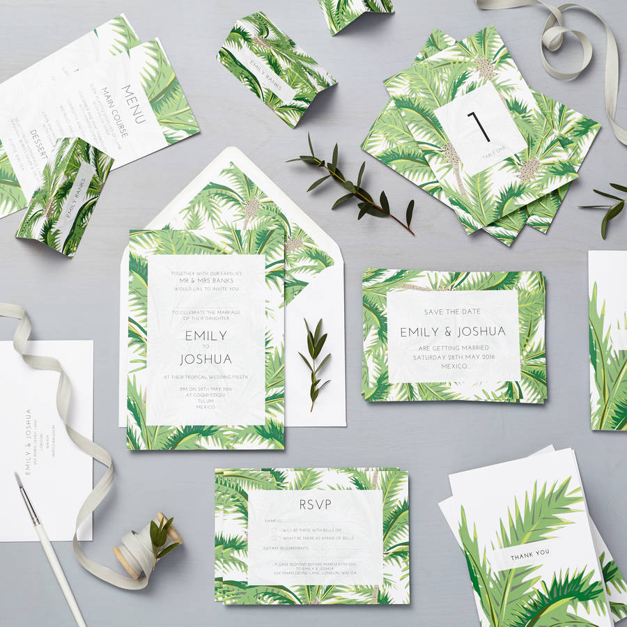 tropical palm wedding invitation set wedding invitation set Tropical Wedding Invitation Set