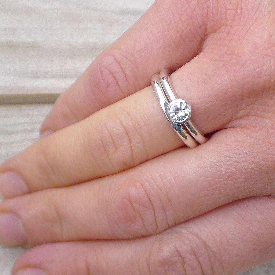 white sapphire bridal ring set in silver white sapphire wedding rings White Sapphire Engagement Ring Set