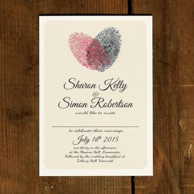 fingerprint heart wedding invitation and save the date by ...