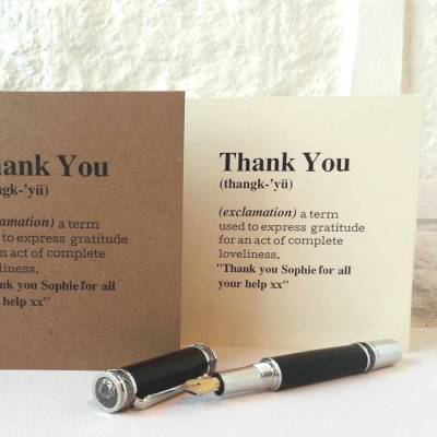 personalised 'thank you' definition card by betsy jarvis | notonthehighstreet.com